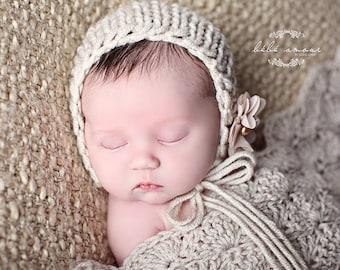 Newborn Bonnet - 4 COLOR CHOICES - GOODNESS baby bonnet - photo prop - knitbysarah - stitches by sarah