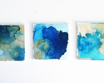 Abstract Watercolor Painting, Canvas Painting, Original, mini canvas