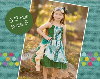 Annie's Cascade Ruffle Dress PDF Pattern sizes 6-12 months to 8 NEW sizes