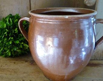 Vintage Confit Pot Bowl Urn Jug European Ceramic Stoneware Pottery Rustic Earthenware Country Kitchen