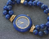 Vintage womens quartz watch lapis lazuli stone bezel and bracelet