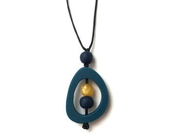 Nursing Necklace - Baby Safe Breastfeeding Necklace - Monkey Mama Twiddle Buster - Teal, Navy, Yellow