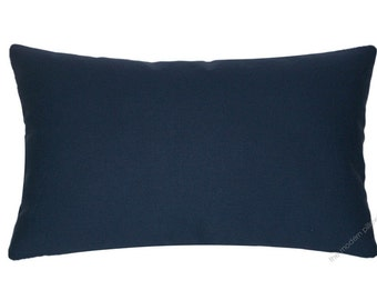 Navy Blue Solid Decorative Throw Pillow Cover / Pillow Case / Cushion Cover / Cotton / 12x18""