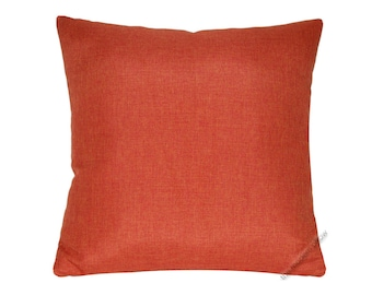 "Orange Cosmo Linen Decorative Throw Pillow Cover / Pillow Case / Cushion Cover / 18x18"" Square"