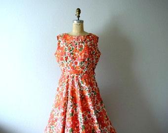1950s vintage dress . 50s orange floral dress . large
