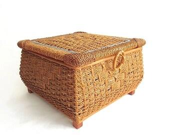 Vintage Sewing Basket - Woven Wicker - Satin Lining - Storage Basket - U.S. Zone Germany -Lidded Basket - Wooden Base