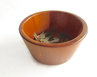 Vintage Wooden Bowl - BUKT-BOWL - Warren W. Williams - Storage - Key Holder - Coins - Change - Dresser Valet - Handmade Wood Bowl