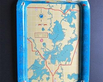 Vintage Metal Serving Tray - Grass Lake - Michigan - Fox Lake - Souvenir Tray - Boating - Summer Vacation - Resorts - Illinois