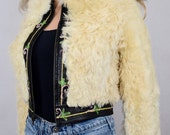 Vintage 1970's Yaqub Shearling Fur Embroidered Leather Rock Star Hippie Boho Jacket Size S