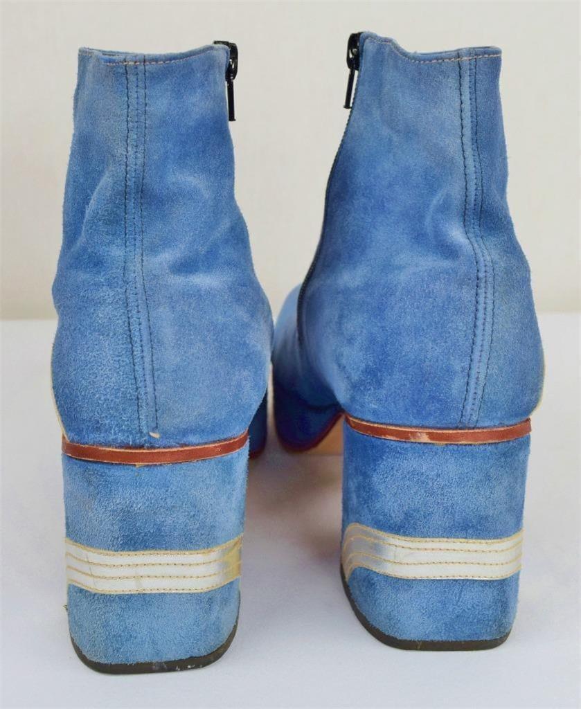 Rare Vintage 1970s Men S 3 5 Blue Suede Platform Disco
