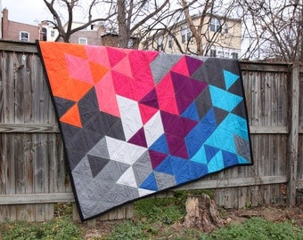 Bright and modern double/queen sized quilt