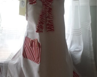 Red and White Candy Cane Stripe Ruffle Apron Christmas in July