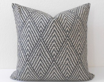 Double sided, Gray and tan chevron diamond decorative throw pillow cover