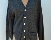 Vintage Charcoal Gray vintage lambs WOOL by CAMPUS Charcoal Gray Cardigan! Marked size: 40 Made in the USA!  Boyfriend cardigan deep v neck
