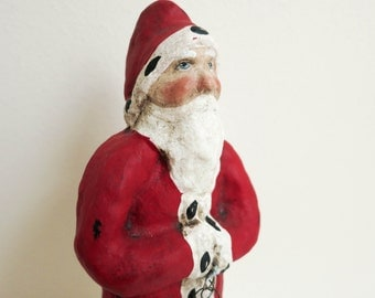 Vintage Santa by Debbee Thibault - Signed - Belsnickle with Lamb and Gold Heart - Rustic Primitive Folk Art Santa - Christmas Decoration