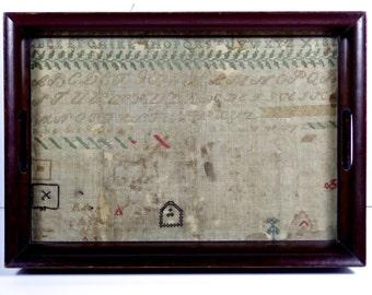1820s original Sampler, Early American Primitives Sampler, Antique Sampler