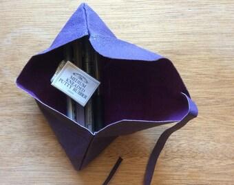 Pencil Pouch-Purple-Leather Pencil Case-School-Art-Travel-Handmade-Handstitched