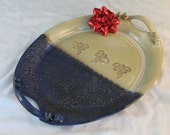 Oval Serving Platter - Large Dragonfly tray - Ceramics and Pottery - purple and yellow