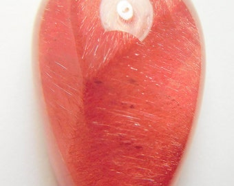 Mexican Strawberry Quartz designer cabochon AAAA High dome drop 21.5 ct  partial star. Collectors and Metaphisical cab