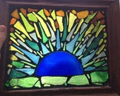 "10 1/2""x12 1/2""recycled glass sunburst mosaic"