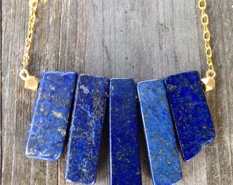Blue Lapis Lazuli Stone Bib Necklace with Gold Plated Chain