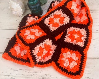 1970's Vintage Toddler Shawl, Poncho in Orange + Nut Brown, My Kids a Hipster, Retro Outerwear, Eye Catching Clothing for Kids, Hand Knit