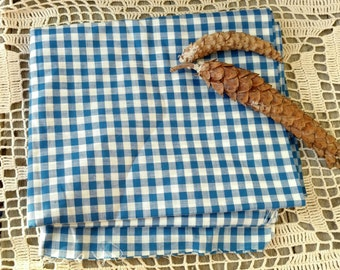 """Retro Blue Gingham Material - Vintage 1950's Cotton Fabric, Bright White + Blue Checkered Sewing Fabric, Home Decor /Blue Nursery, 56""""x36"""""""