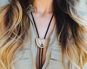 SALE!!! FOGBOW | wood bolo tie, laser cut wood brass and leather bolo tie