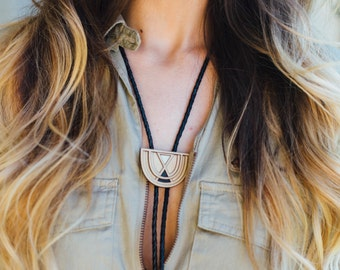 FOGBOW | wood bolo tie, laser cut wood brass and leather bolo tie