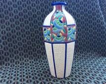 Antique Art Deco Emaux de Longwy Octogonal Vase 1920s