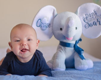 Personalized  Elephant Plush Toy, Personalized baby decor, monogrammed baby gift, Baby shower gift, newborn photo prop, birth stats keepsake