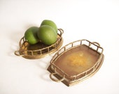 Pair of Faux Bamboo Railing Vanity Trays, Small, Hollywood Regency