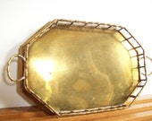 Faux Bamboo Brass Gallery Tray, Vintage Cocktail Tray, Hollywood Regency Decor, Serving Tray, Octagonal