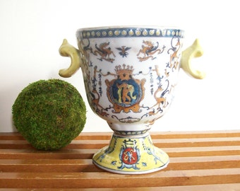 Vintage Pottery Urn, Crested with Cherubs, Griffons, Yellow Blue and White, Vase, Jardiniere, Paris Apartment Decor