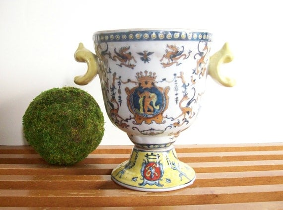 Vintage Pottery Urn Crested With Cherubs Griffons Yellow