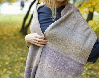 Hand woven wool scarf for her Noro yarn rustic