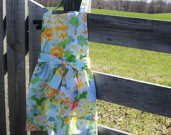 Ruffled Farmhouse Apron from Vintage Upcycled Bed Sheet Full Length Granny Chic Gourmet Mom Birthday Retirement Hostess Gift