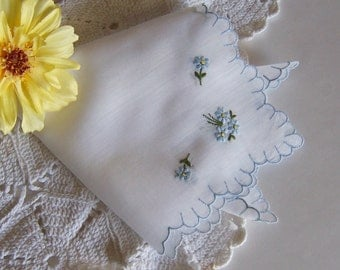 Bridal Shower Gift Wedding Handkerchief Something Old and Something Blue Bride's Vintage Hanky with Free Gift Envelope