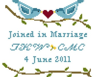 Lovebirds Wedding Sampler Cross Stitch Pattern ** Instant Download PDF