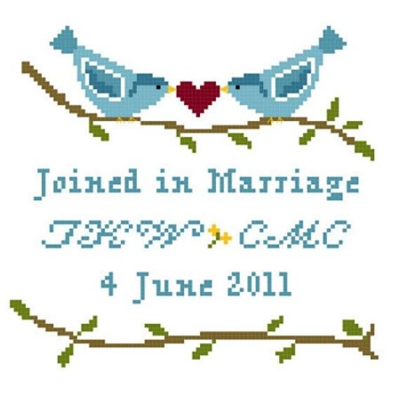 Lovebirds Wedding Sampler Cross Stitch Pattern ** Instant Download PDF