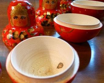 SALE Handpainted vintage Russian Nesting Dolls Babooshka with ten wooden dolls