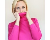 Vintage 1960s Hot Pink Long Sleeve Turtleneck Blouse / Barbie Pink Nylon Top / Small