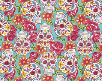 Festive Sugar Skulls - Turquoise by David Textiles 100% Cotton by the yard