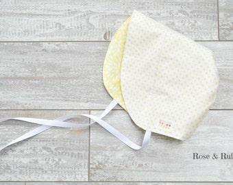 Yellow and White Cotton Baby Bonnet, Modern Fit, Sun Hat, Newborn 0-3M thru Toddler 18M, Rose and Ruffle
