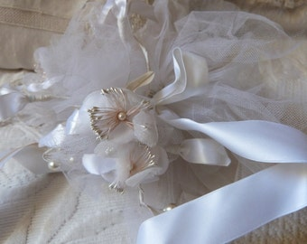 Vintage French bridal flower wedding bouquet pomander w ribbons bows, white wedding accessories for the bride, white bridal accessories