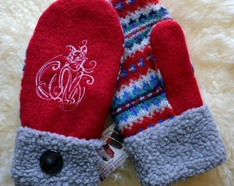 Wool Mittens, Handmade recycled upcycled wool sweater, Fleece Lined, Kitty Cat Embroidered ,  Fair Isle, Patchwork