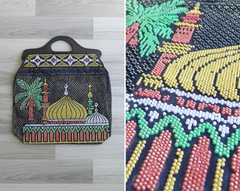Vintage 70's Kitsch Turkish Beaded Tote with Plastic Handle