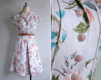 20% CNY SALE - Vintage 70's Peachy Keen Pintuck Floral Shirt Dress XS or S