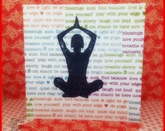 Lotus Pose Yoga Hand Stamped Handmade Card