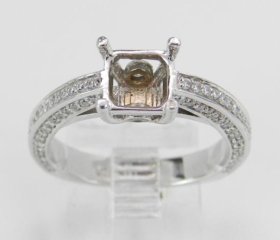 Diamond Engagement Ring Setting Semi Mount 14K White Gold Size 6.75
